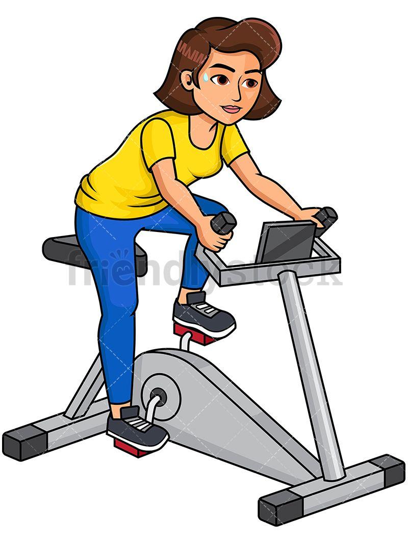 Clipart bicycle gym bike. Woman riding stationary cartoon