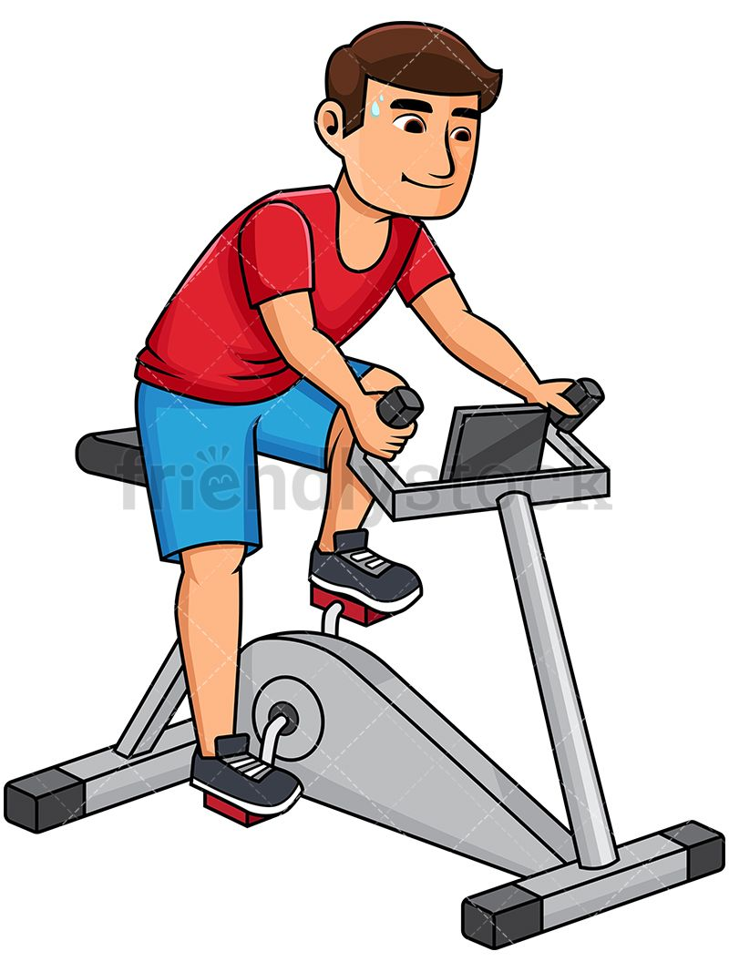 Healthy man riding bike. Exercising clipart stationary bicycle