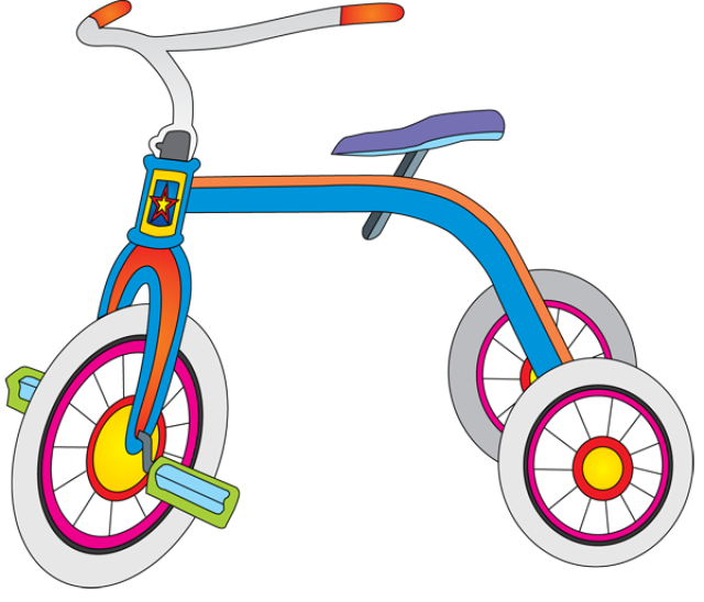 Graphic design tricycle toy. Clipart bicycle hobbies