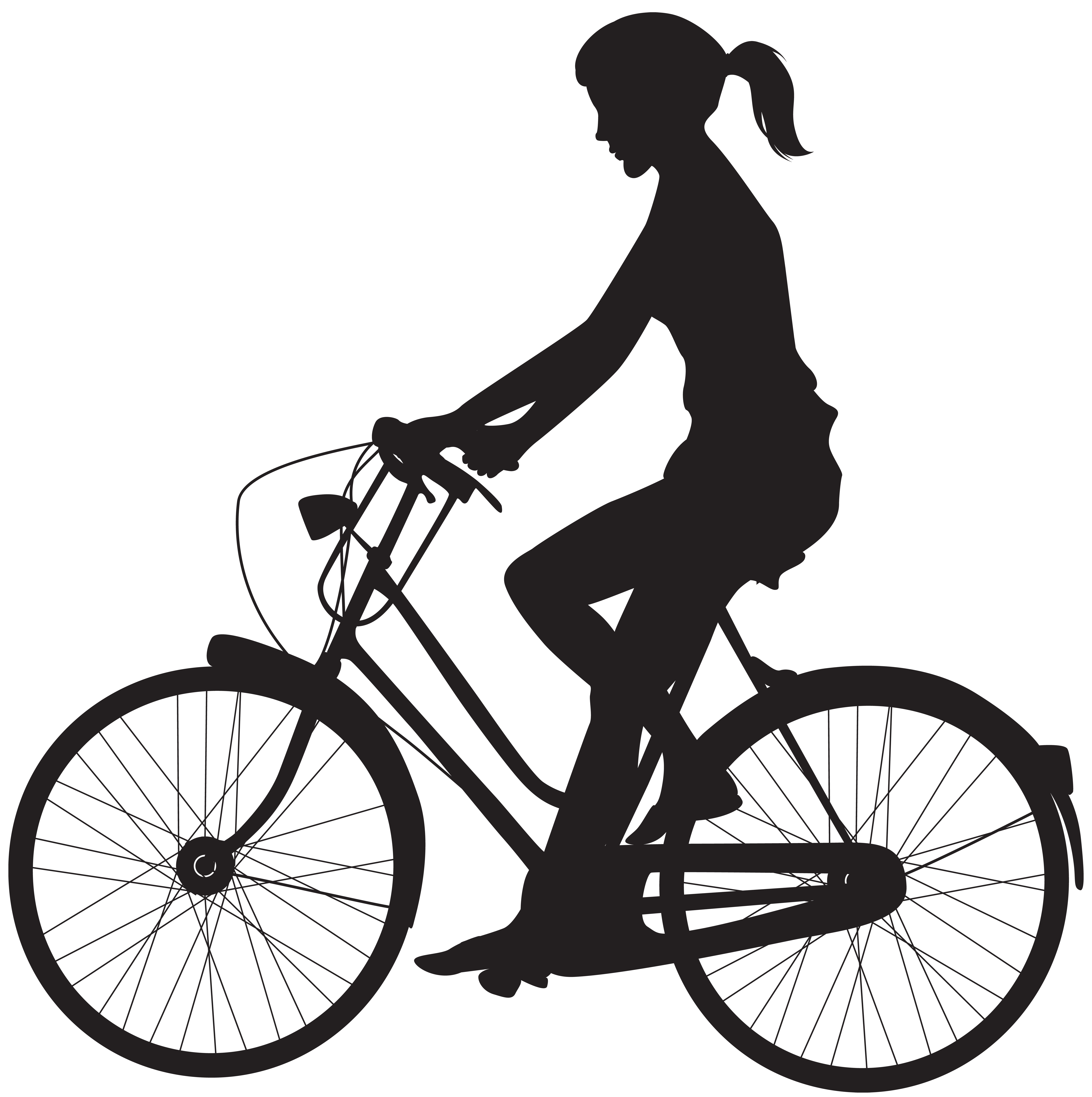 Silhouette at getdrawings com. Cycle clipart female cyclist