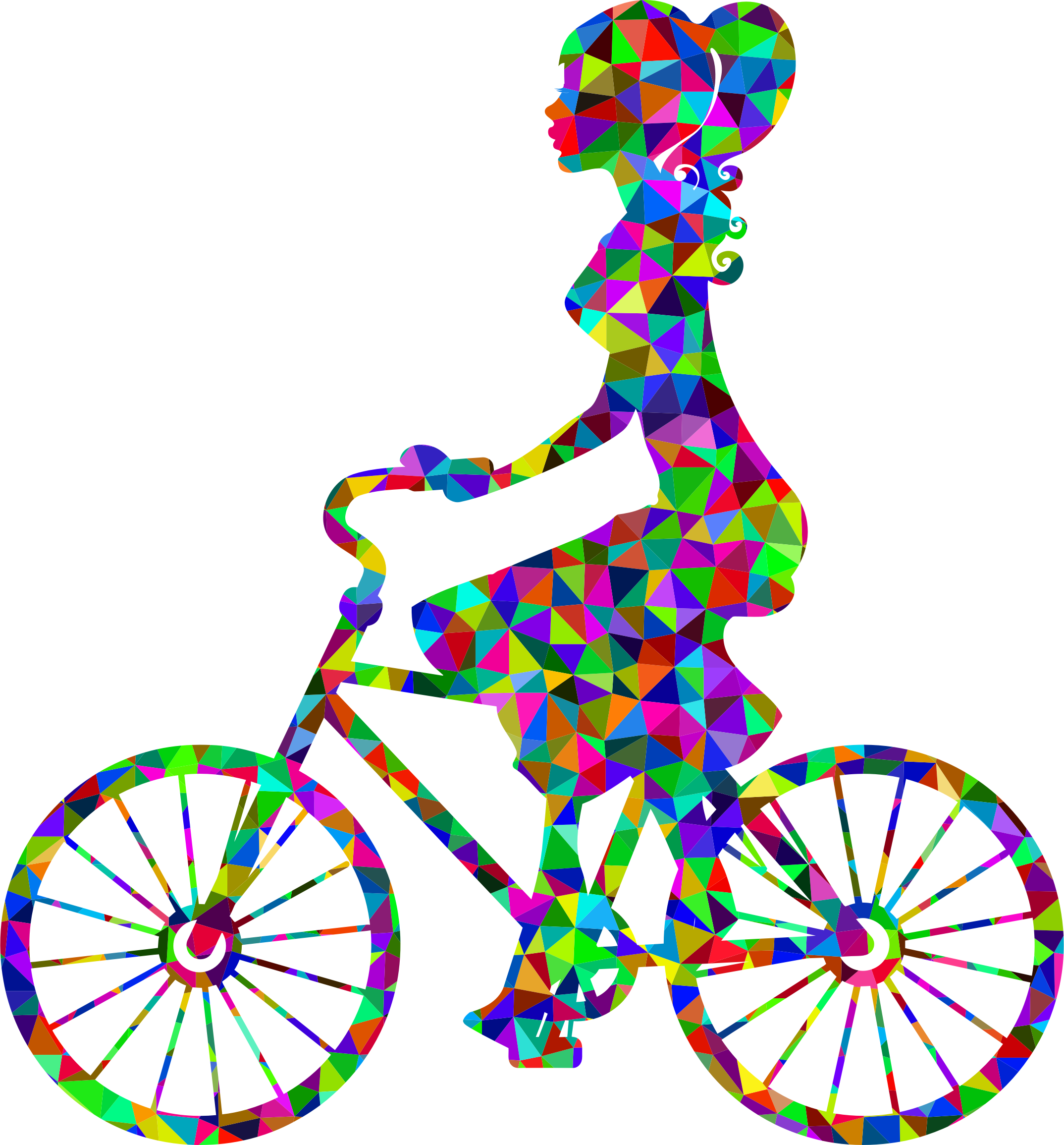 Low poly prismatic girl. Cycle clipart kind vehicle