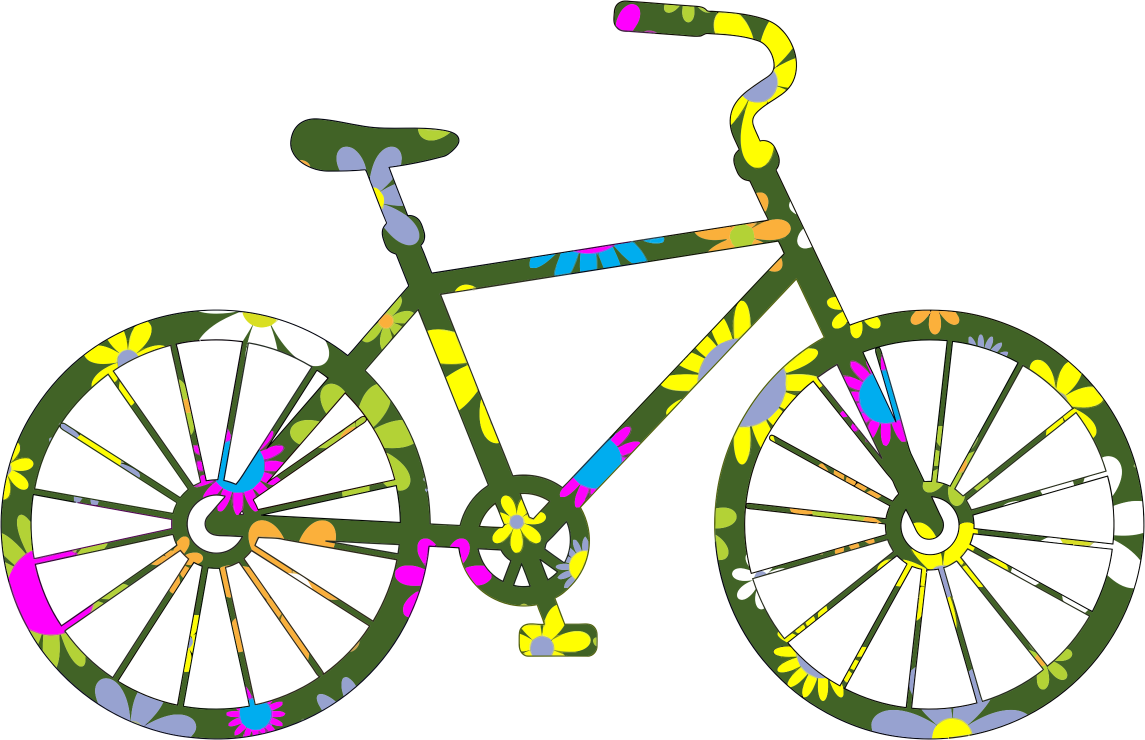 Cycle clipart retro bike. Desktop backgrounds floral bicycle