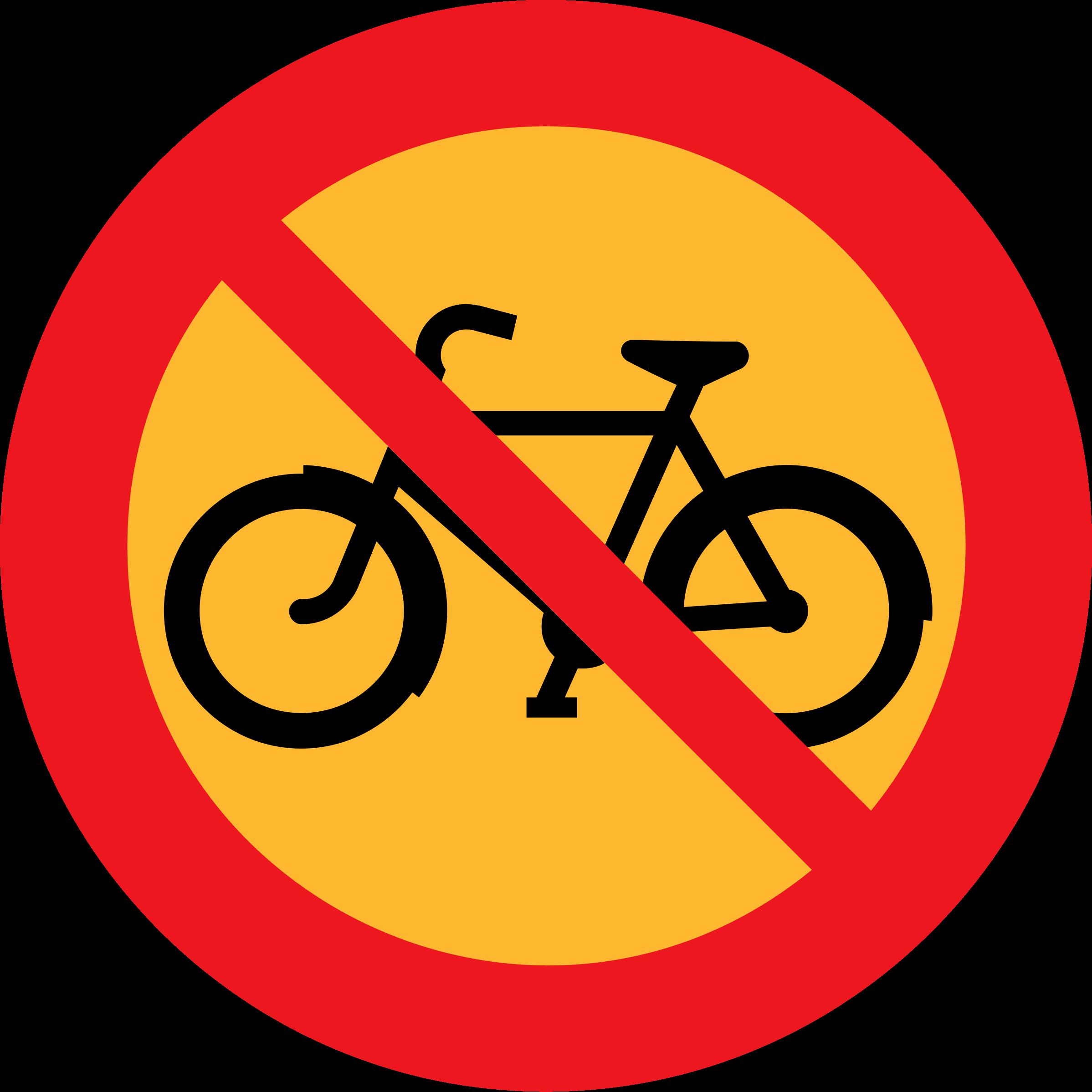 No bicycles roadsign big. Clipart bicycle orange
