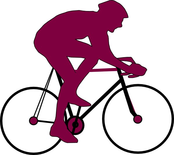 Cycle clipart cycling exercise. Purple cyclist icon clip