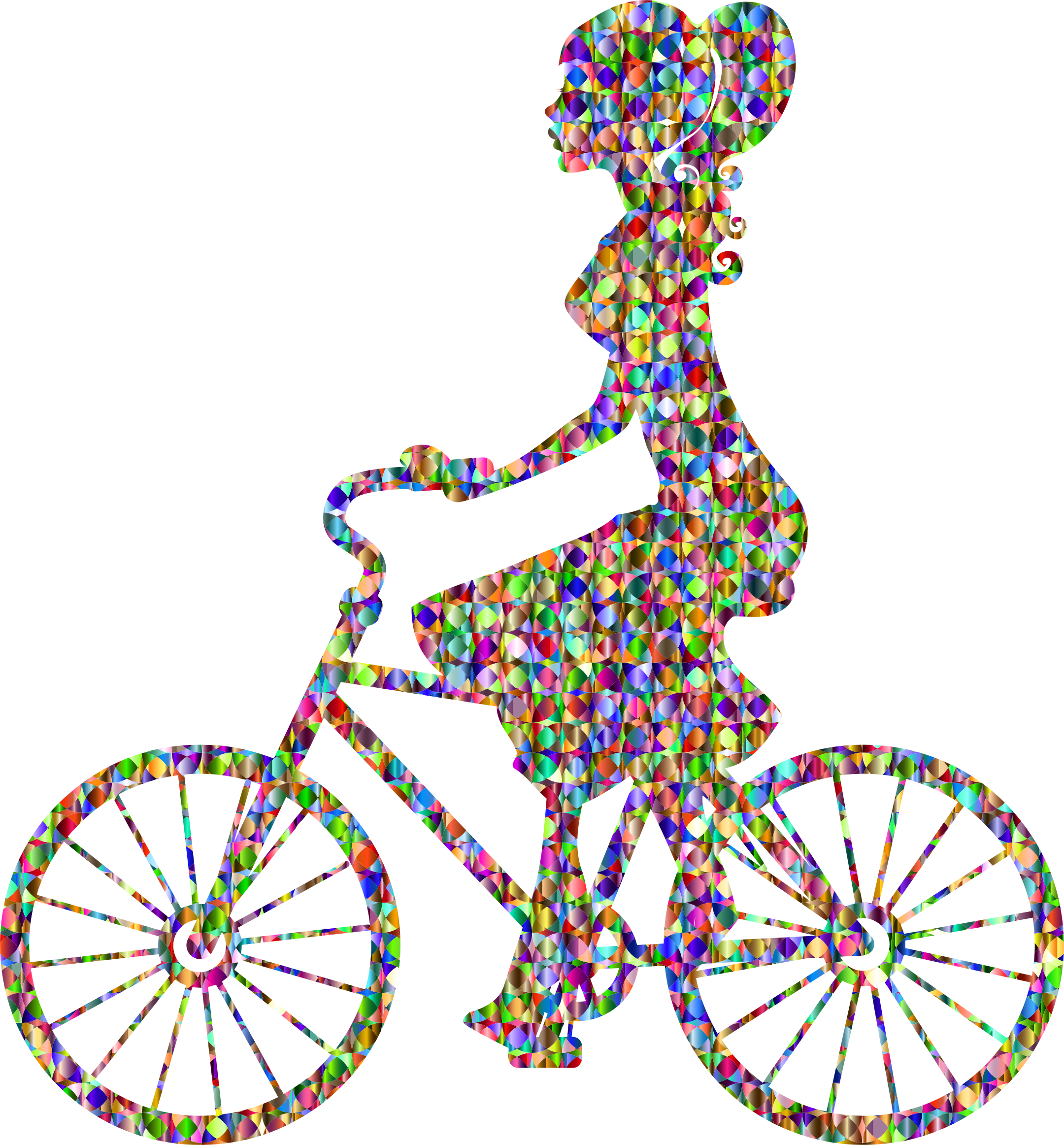 Chromatic bejeweled girl on. Clipart bicycle transportation
