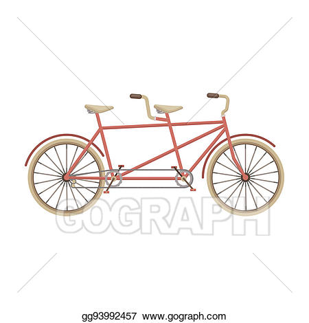 Clipart bicycle two bike. Stock illustrations tandem pleasure