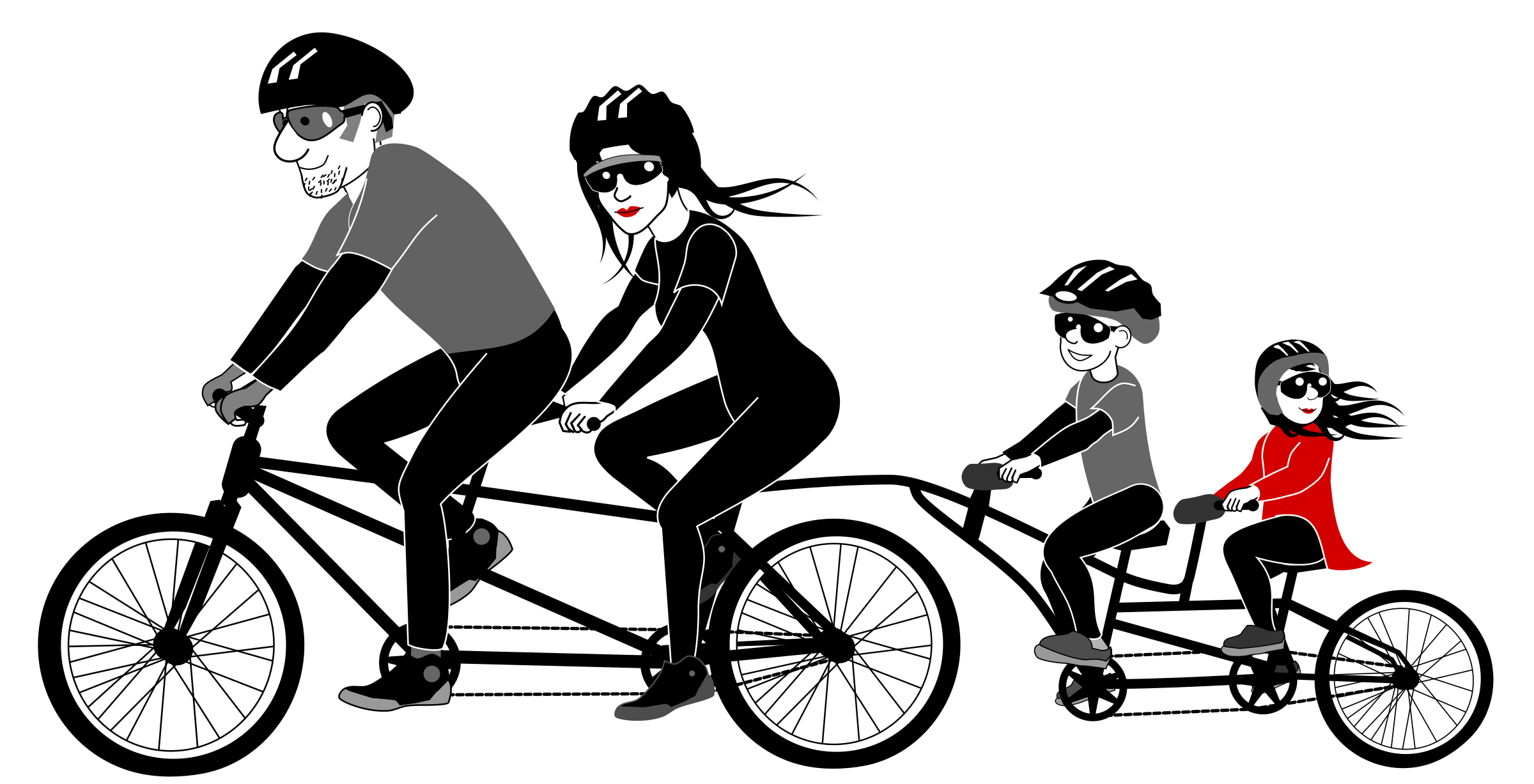 Cycle clipart female cyclist. Family riding tandem bicycle