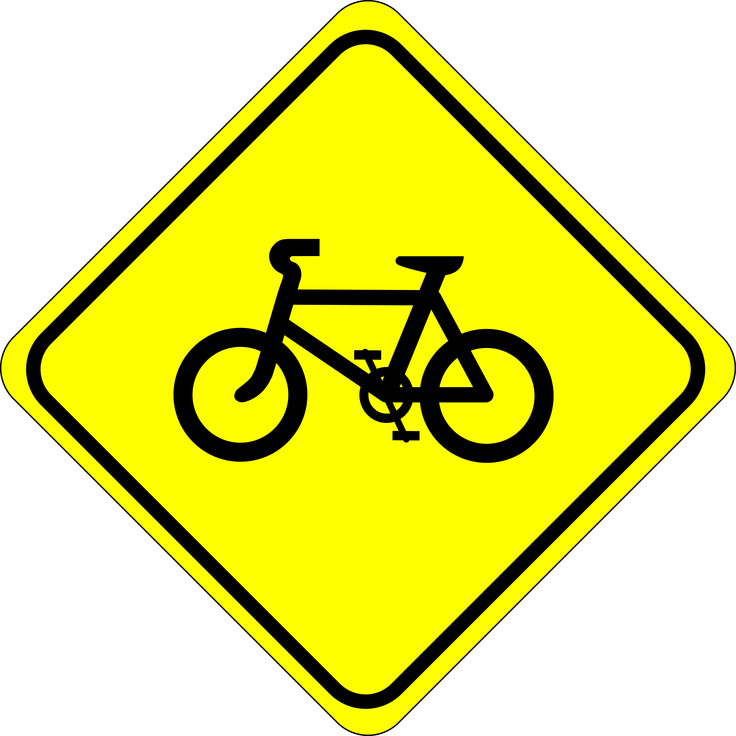 Clipart bike yellow bike. Roadsign watch for bicycles