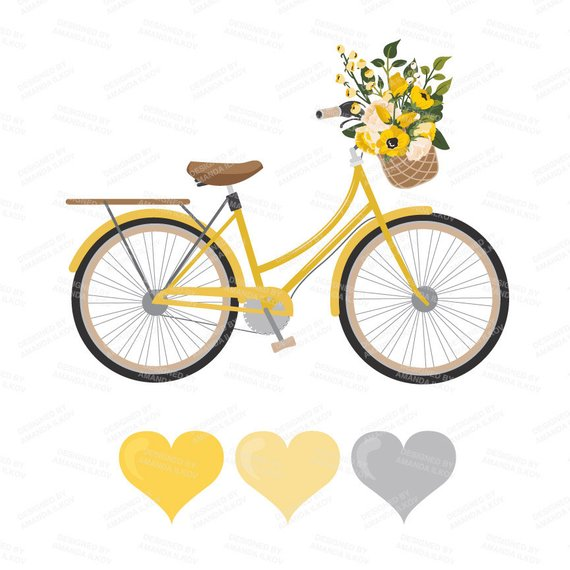 Premium wedding vectors bicycle. Clipart bike yellow bike