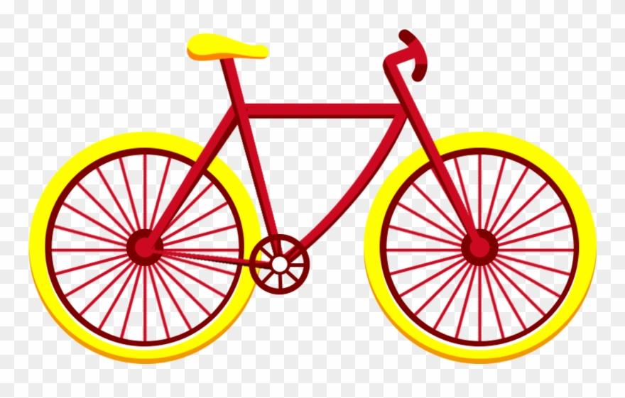 Clipart bike yellow bike. Red bicycle vehicle flat