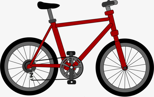 Red cartoon bicycle png. Clipart bike