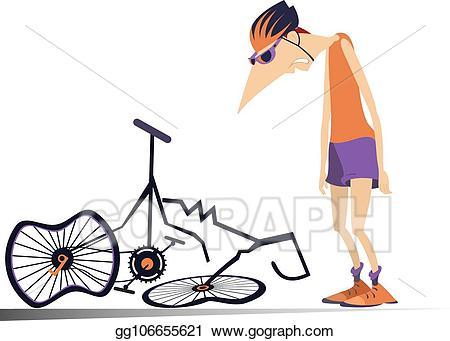 Clipart bike broken bicycle. Clip art vector cyclist