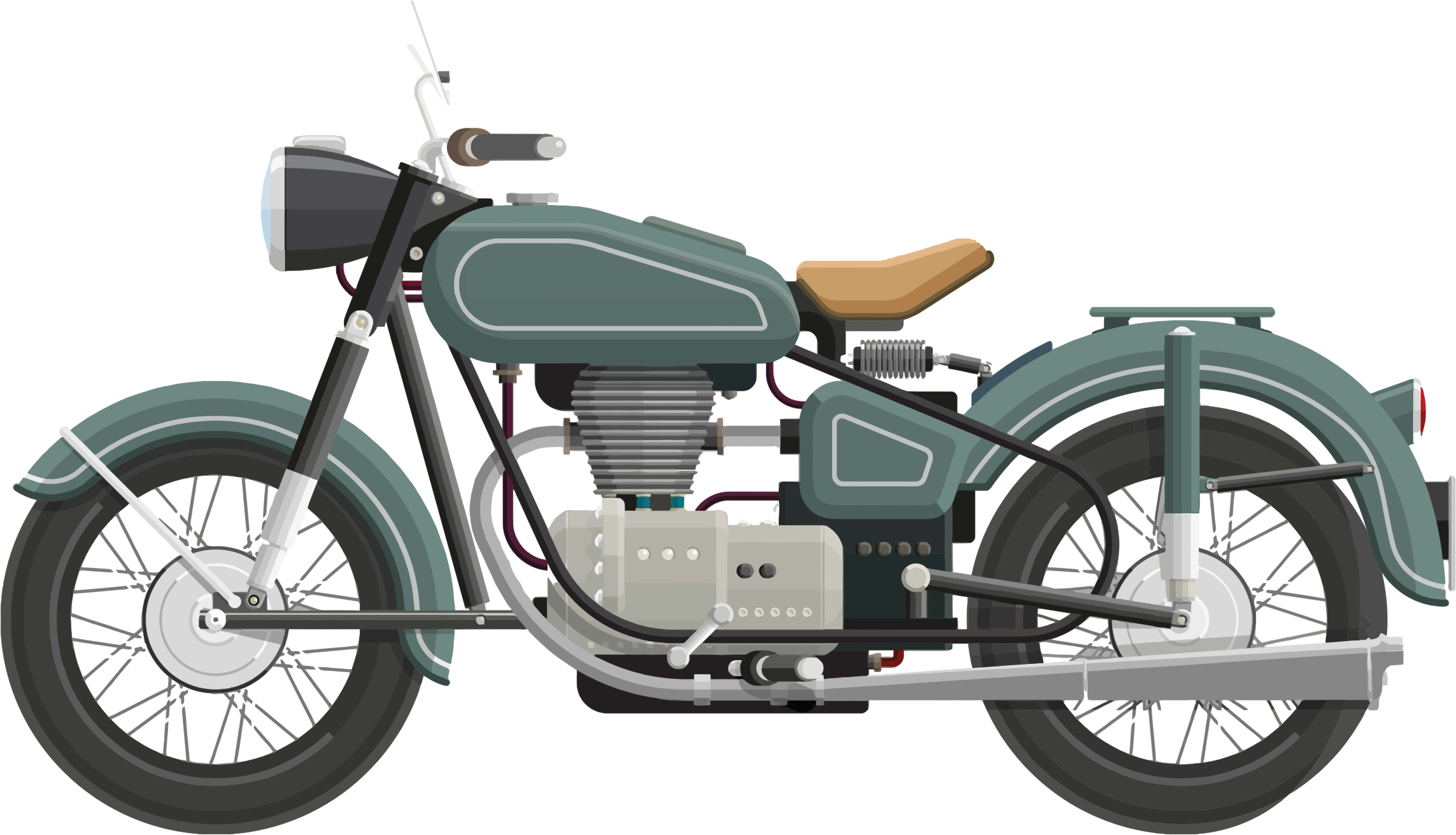 Flat shaded classic big. Motorcycle clipart stylized