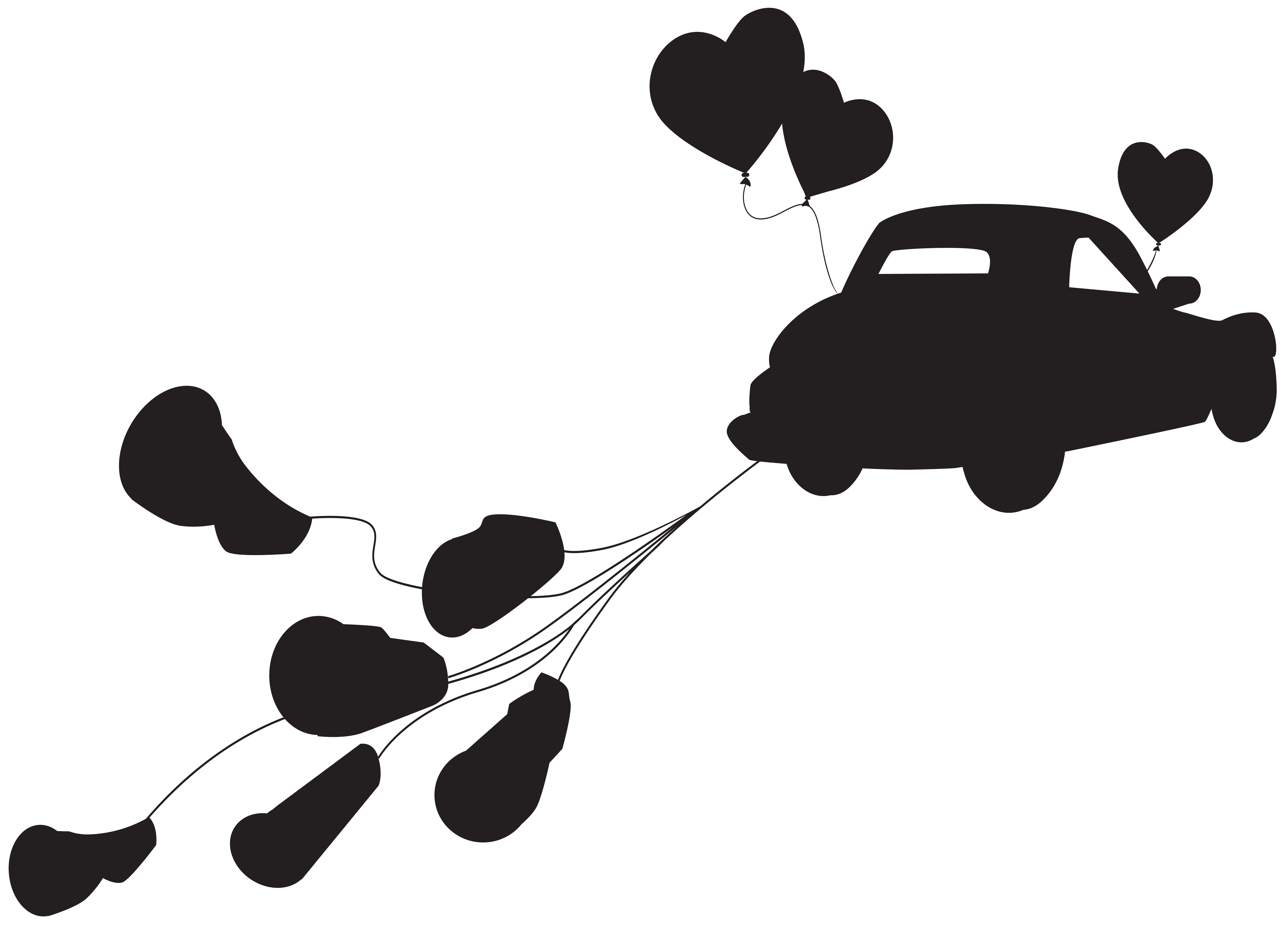 Wedding group just married. Clipart car silhouette