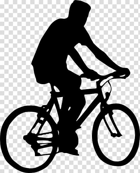 Silhouette of biking bicycle. Clipart bike man