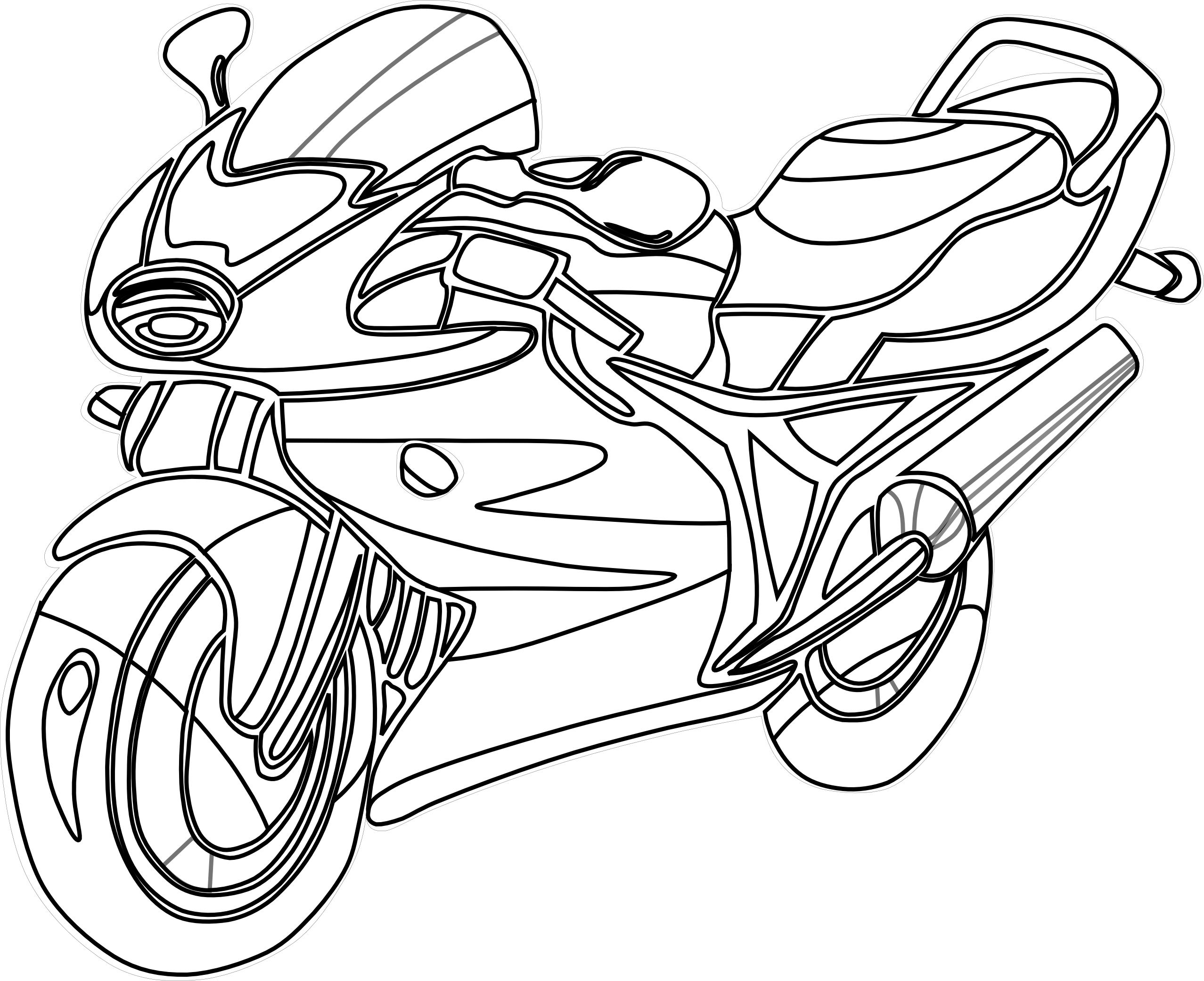 Motorcycle black and panda. White clipart bike
