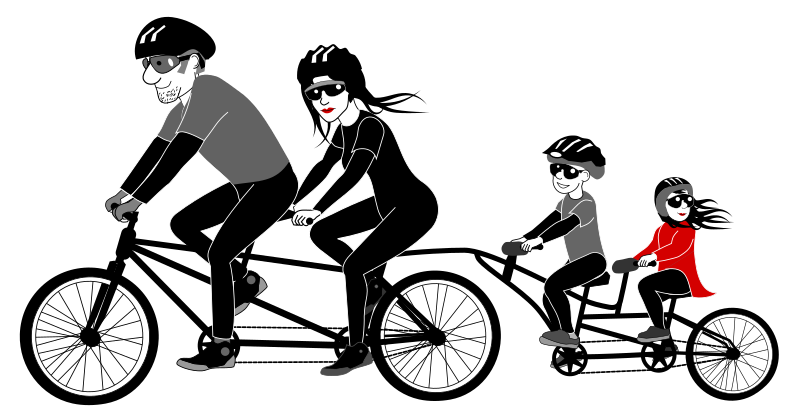 Cycle clipart person. Family riding tandem bicycle