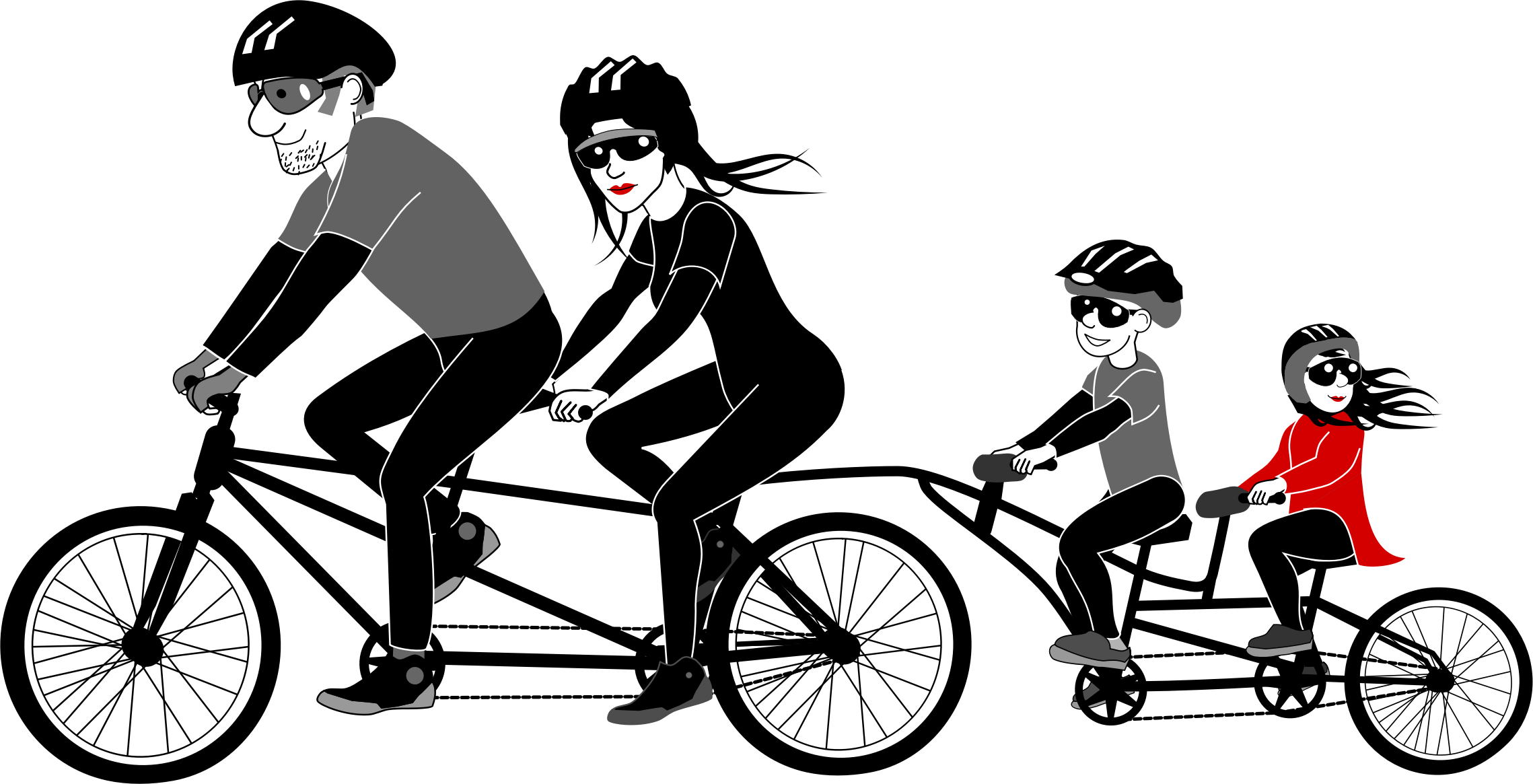 Engagement clipart tandem bicycle. Family riding by kisanti