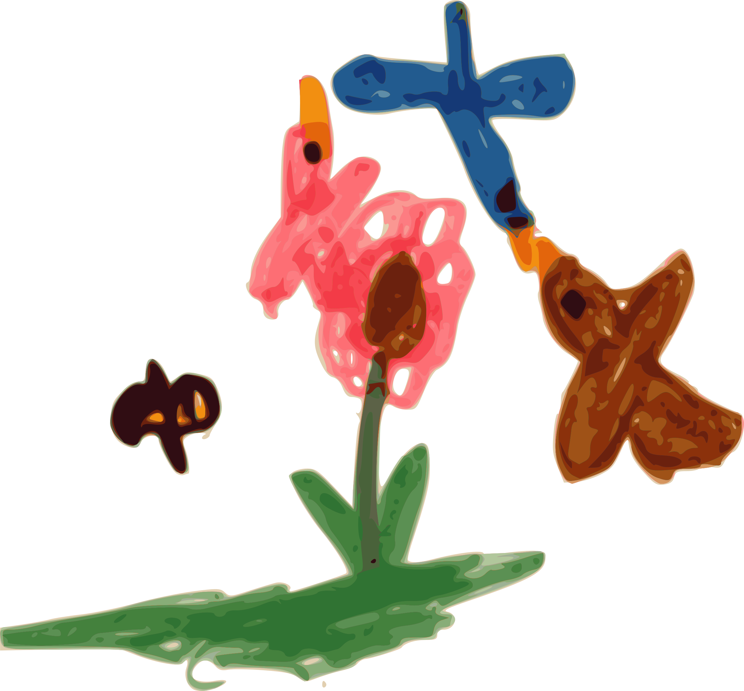 Kindergarten art and flower. Clipart birds bee