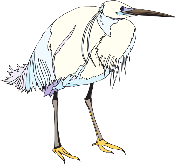 White and blue clip. Crane clipart heron
