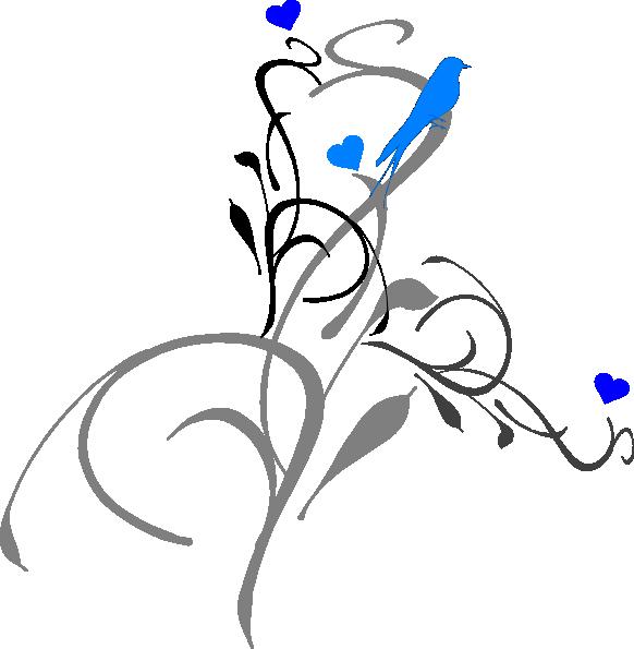 Heart clipart bird. Blue on a vine