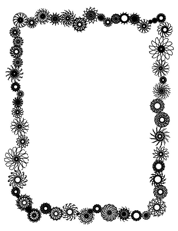 Clipart panda free . Flower border black and white png