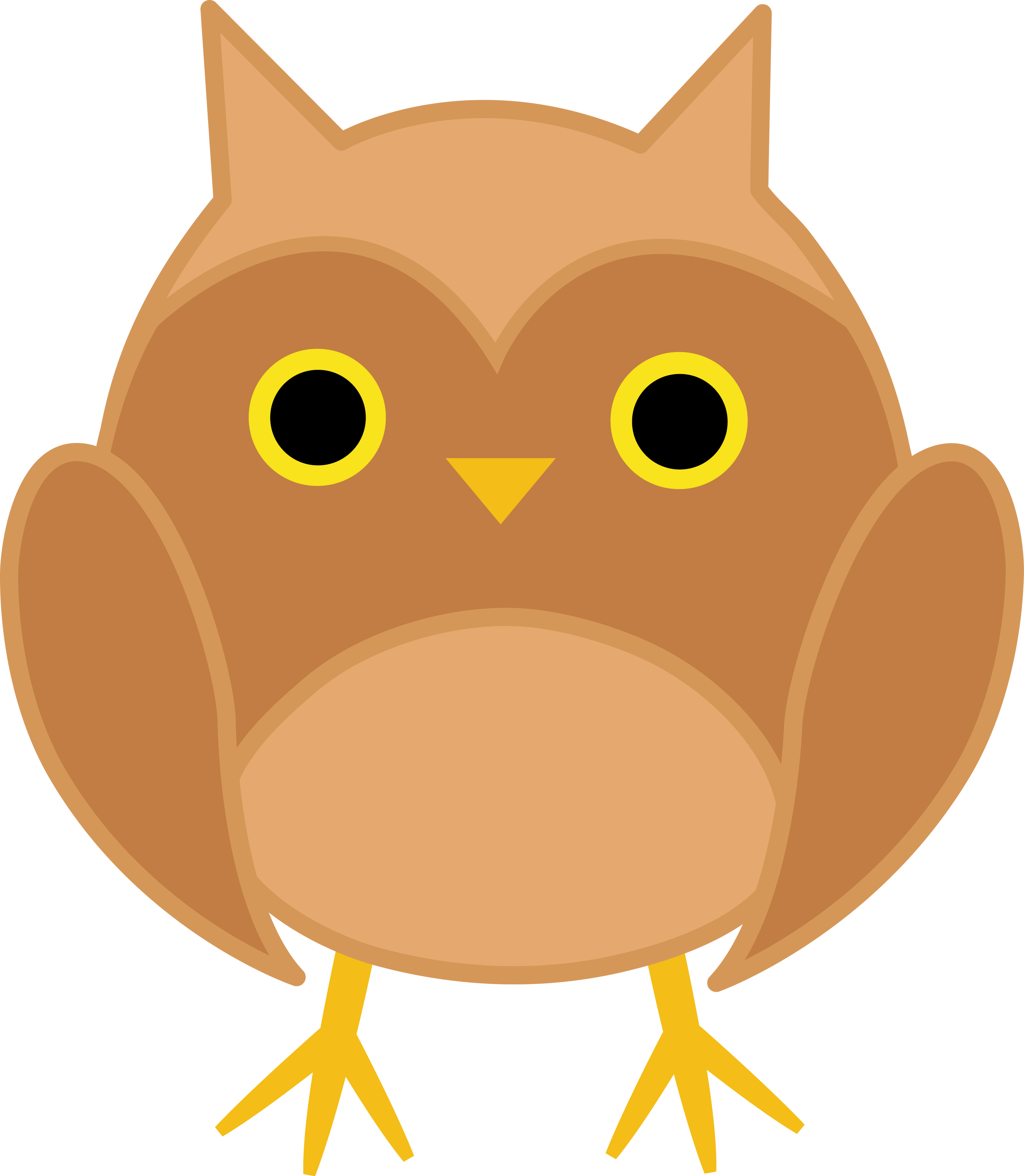 Owls clipart kawaii. Cute brown owl free