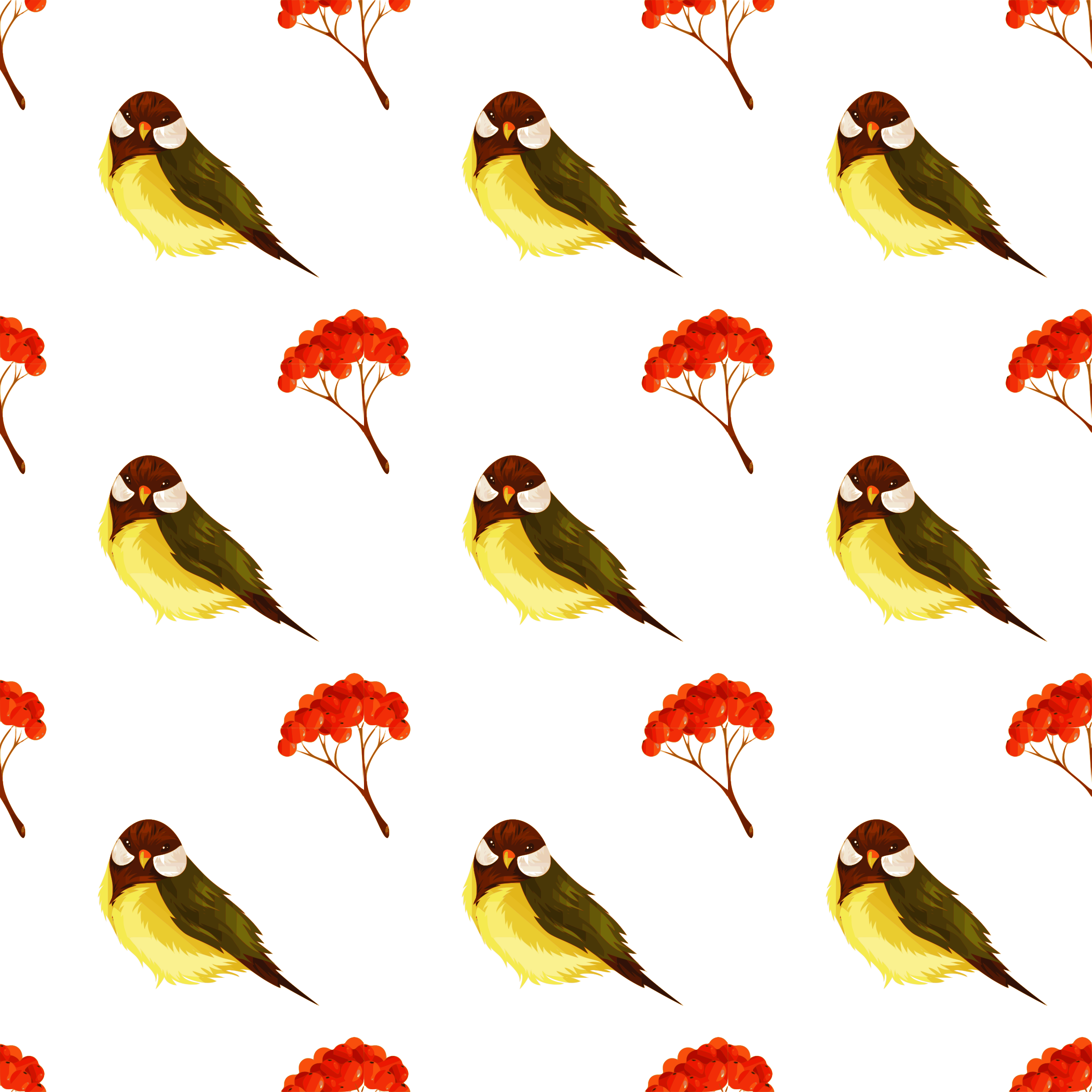 Clipart birds bunch. Bird and pome seamless