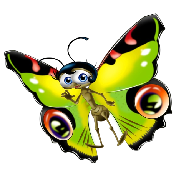 Ladybugs clipart trail. Funny cartoon butterfly images
