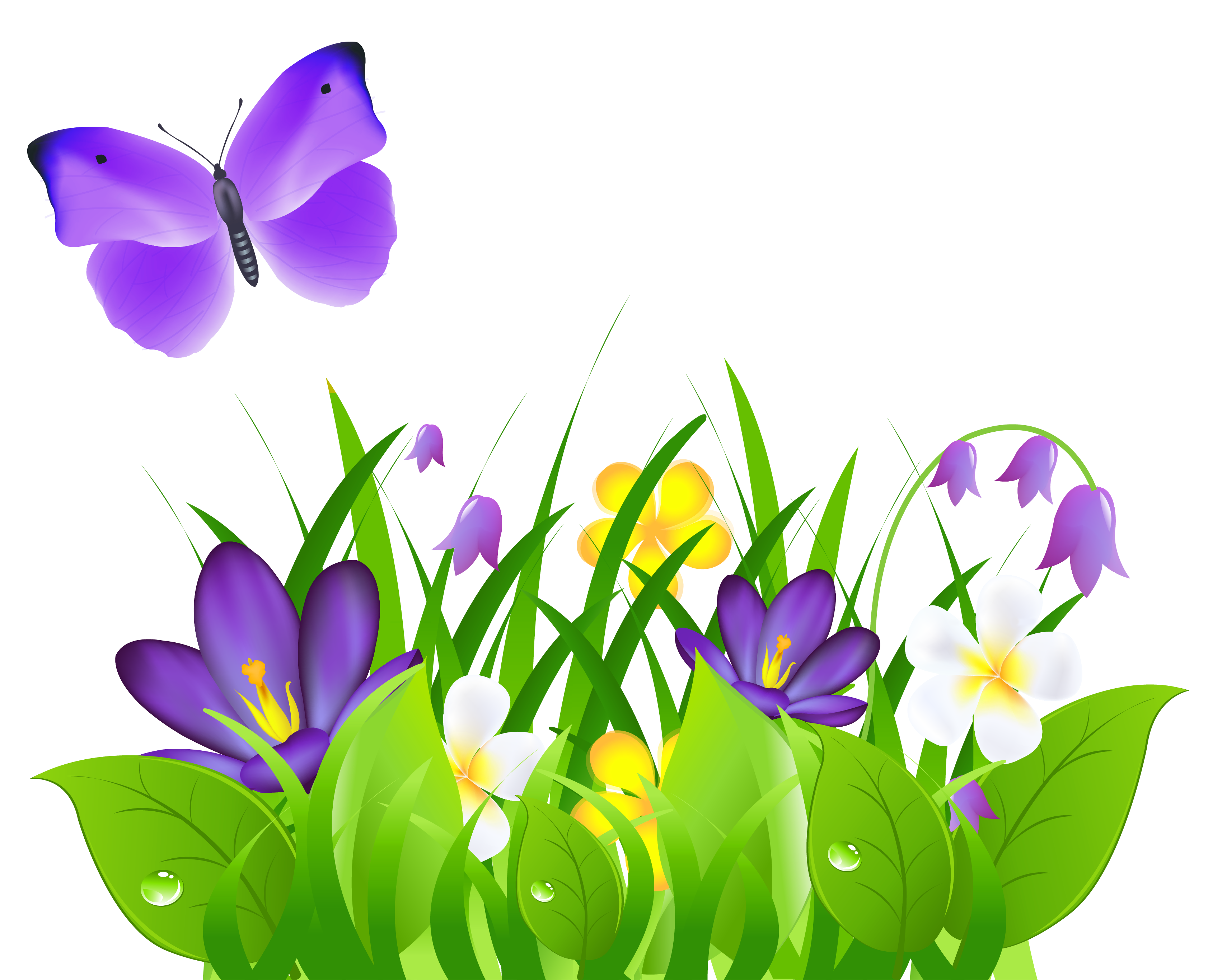 Spring time grass flowers. Clipart rose butterfly