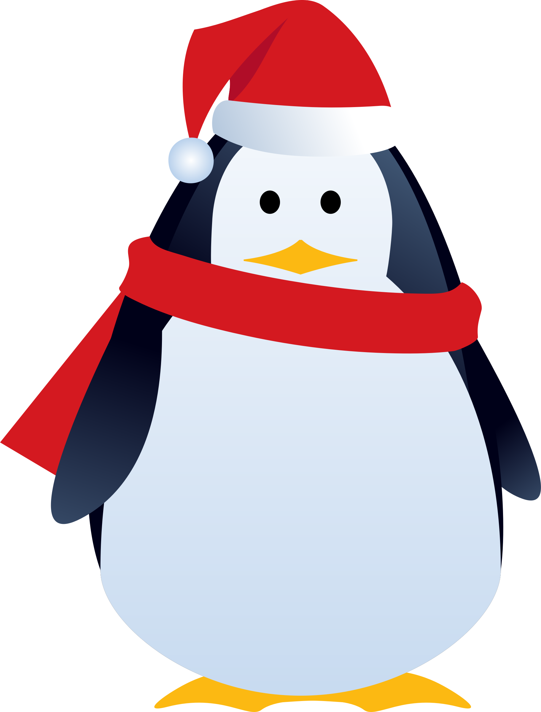 Christmas penguin big image. Clipart present something blue
