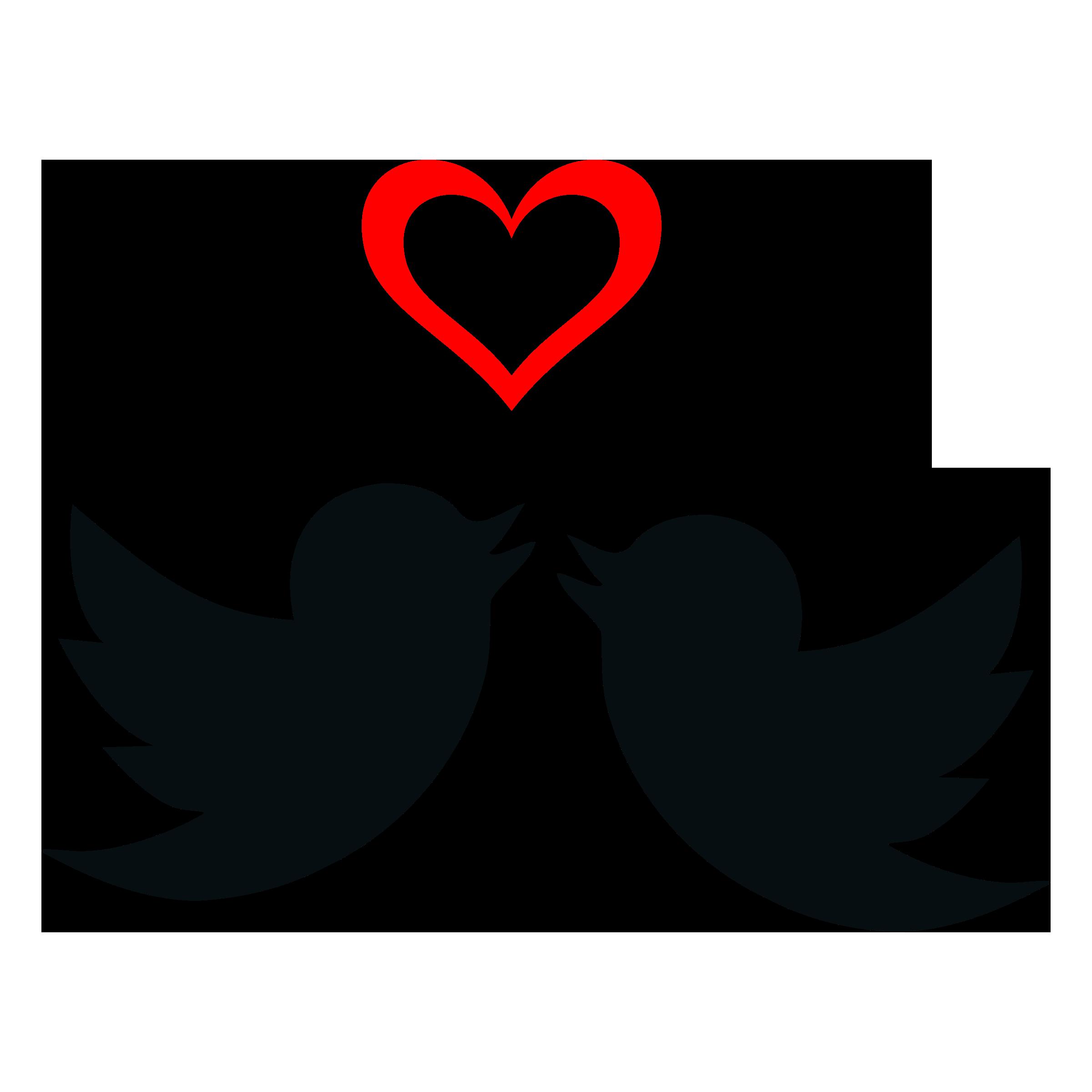 Love silhouette clip art. Heart clipart bird