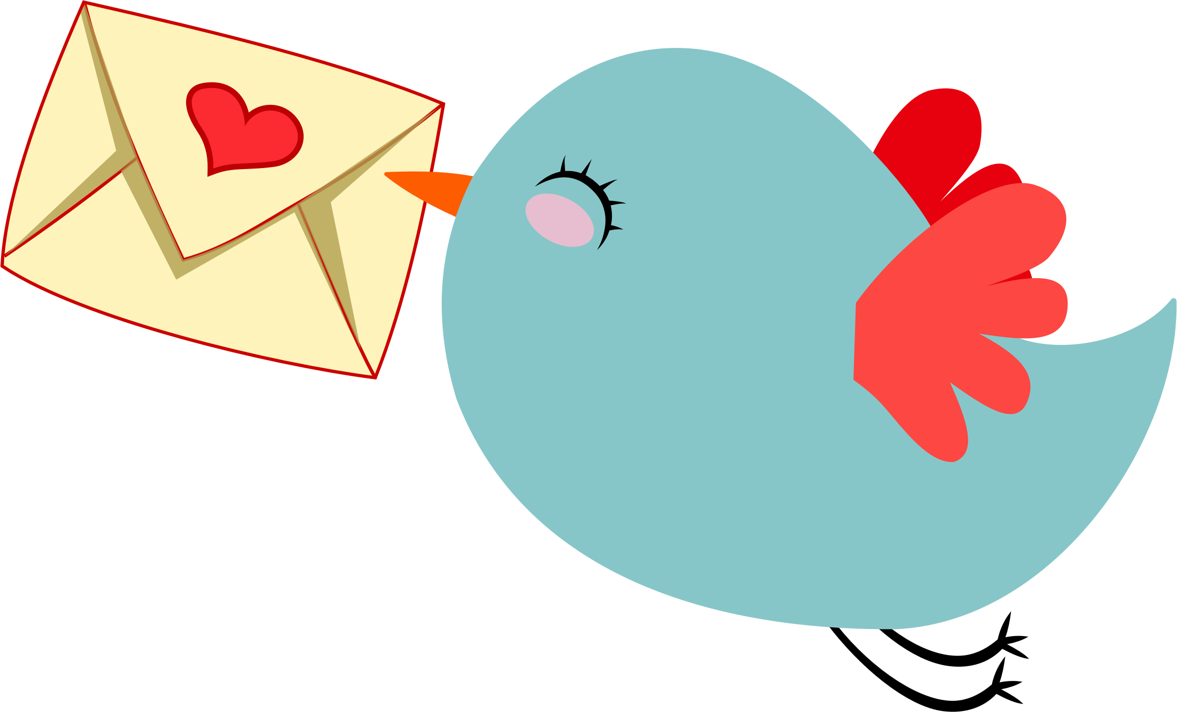 Mail clipart received. Cute carrier bird by