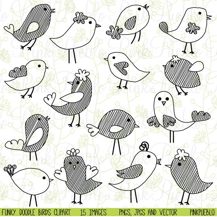 Clipart bird doodle. Birds clip art hand