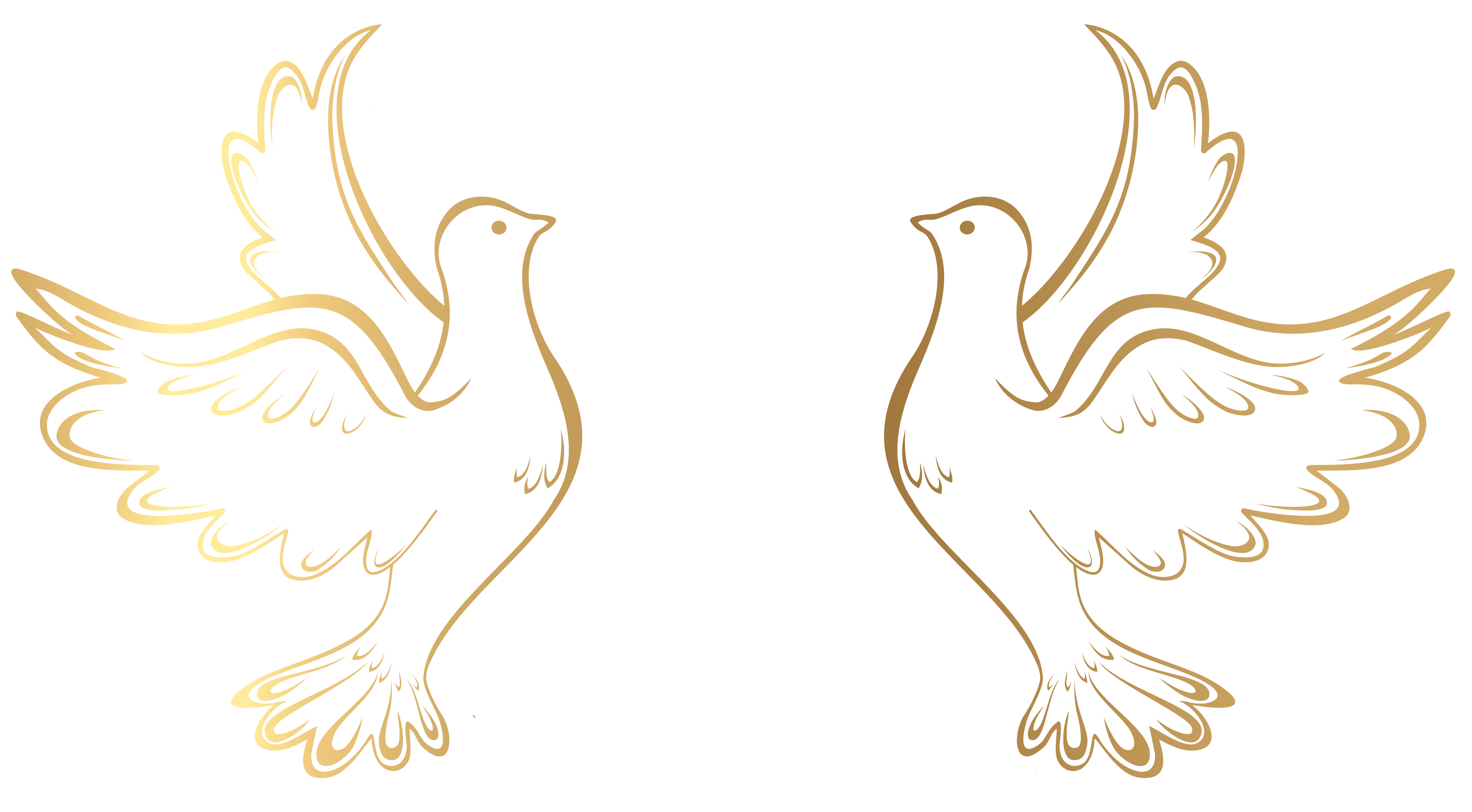 Gold doves decoration transparent. Hearts clipart dove