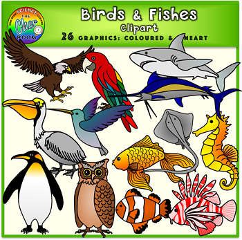 Clipart birds fish. And fishes animals