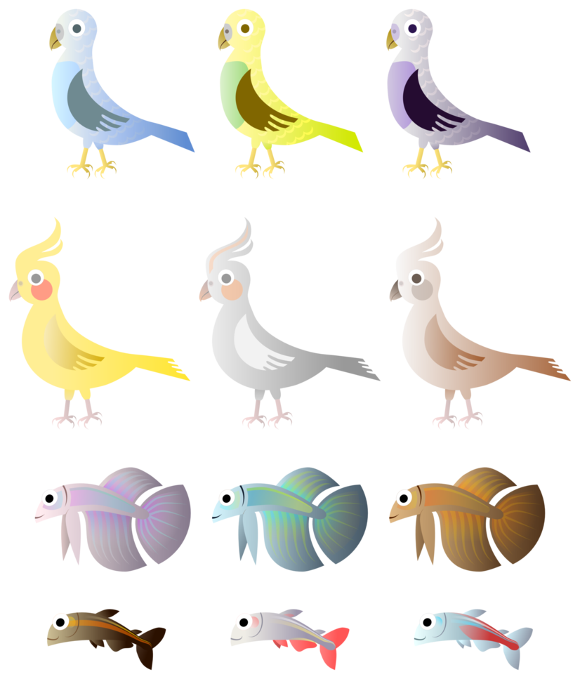 Simple birds and fishes. Clipart bird fish