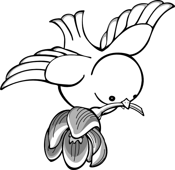 Bird with flower clip. Flying clipart tiny