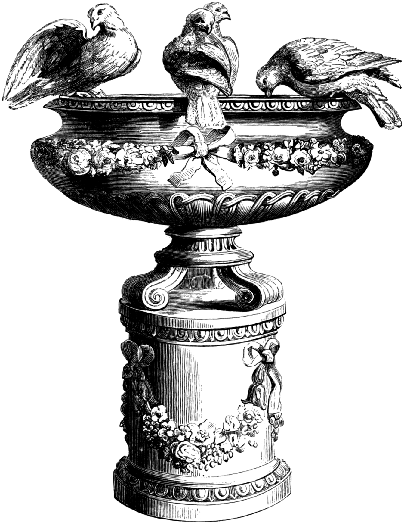 Free clip art vintage. Clipart birds fountain