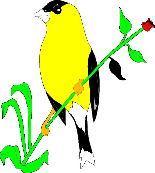 Clipart bird goldfinch. On a flower stem