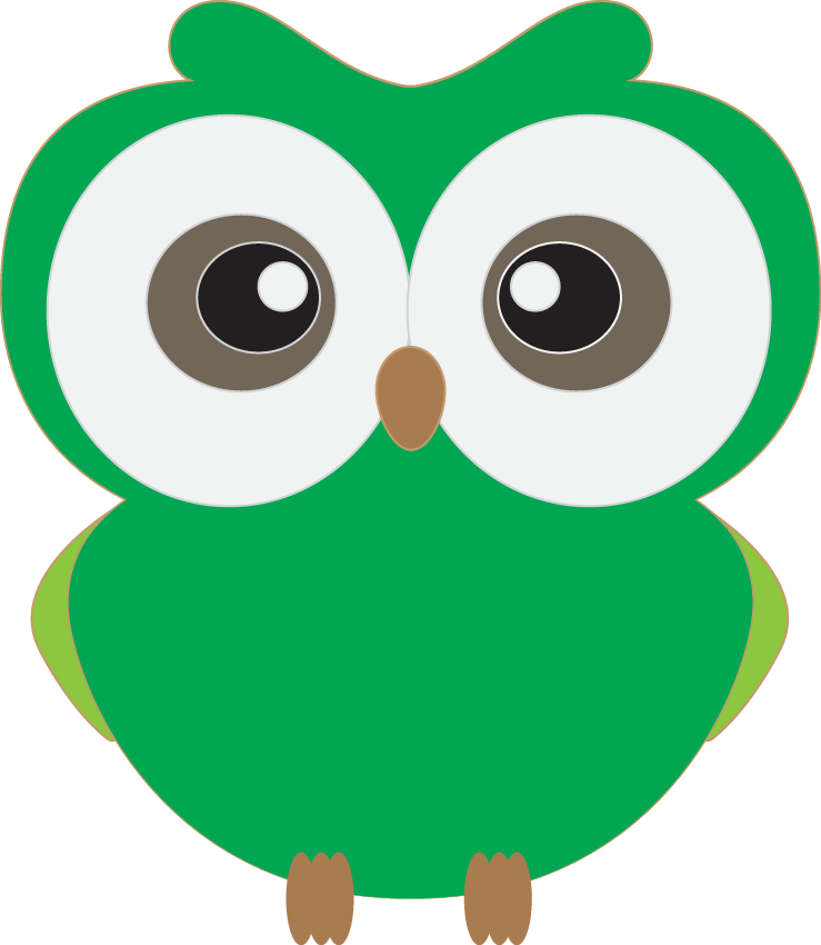 Floral clipart owl.  collection of green