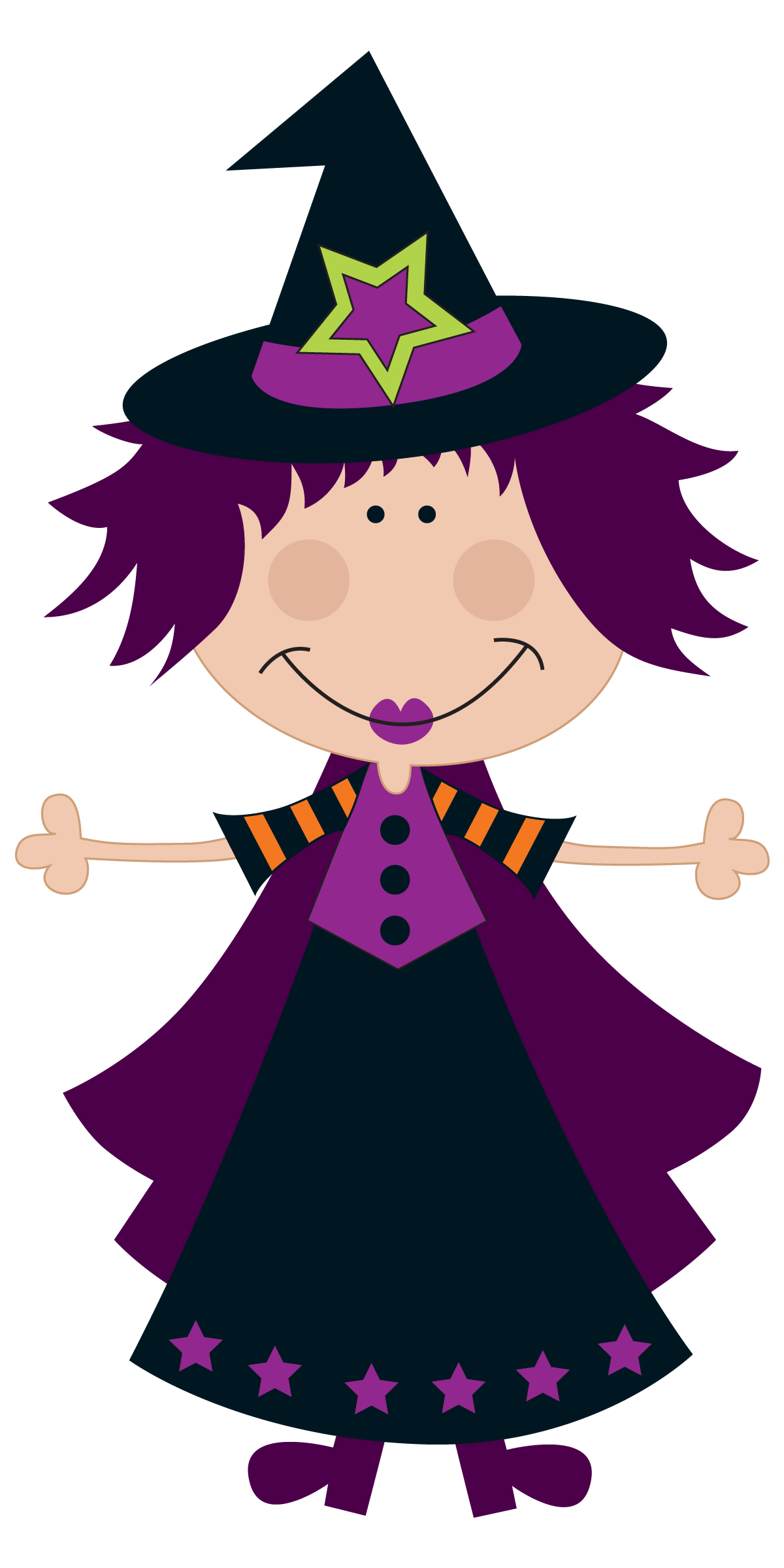 Halloween witch clip art. Hand clipart multiracial