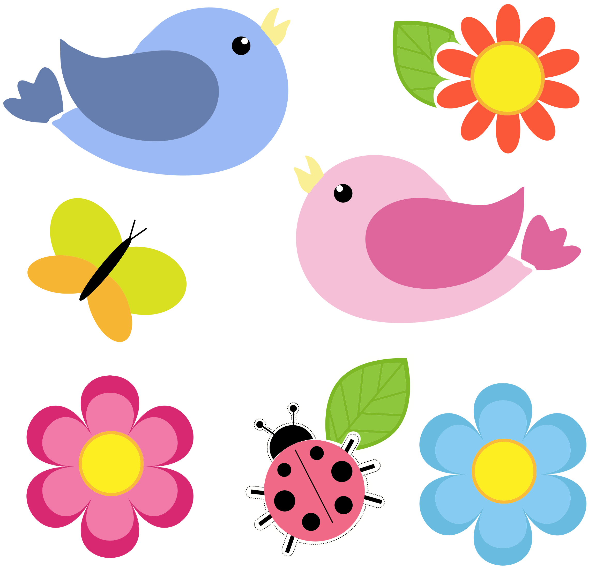 Clipart flower insect. Birds butterfly ladybug and