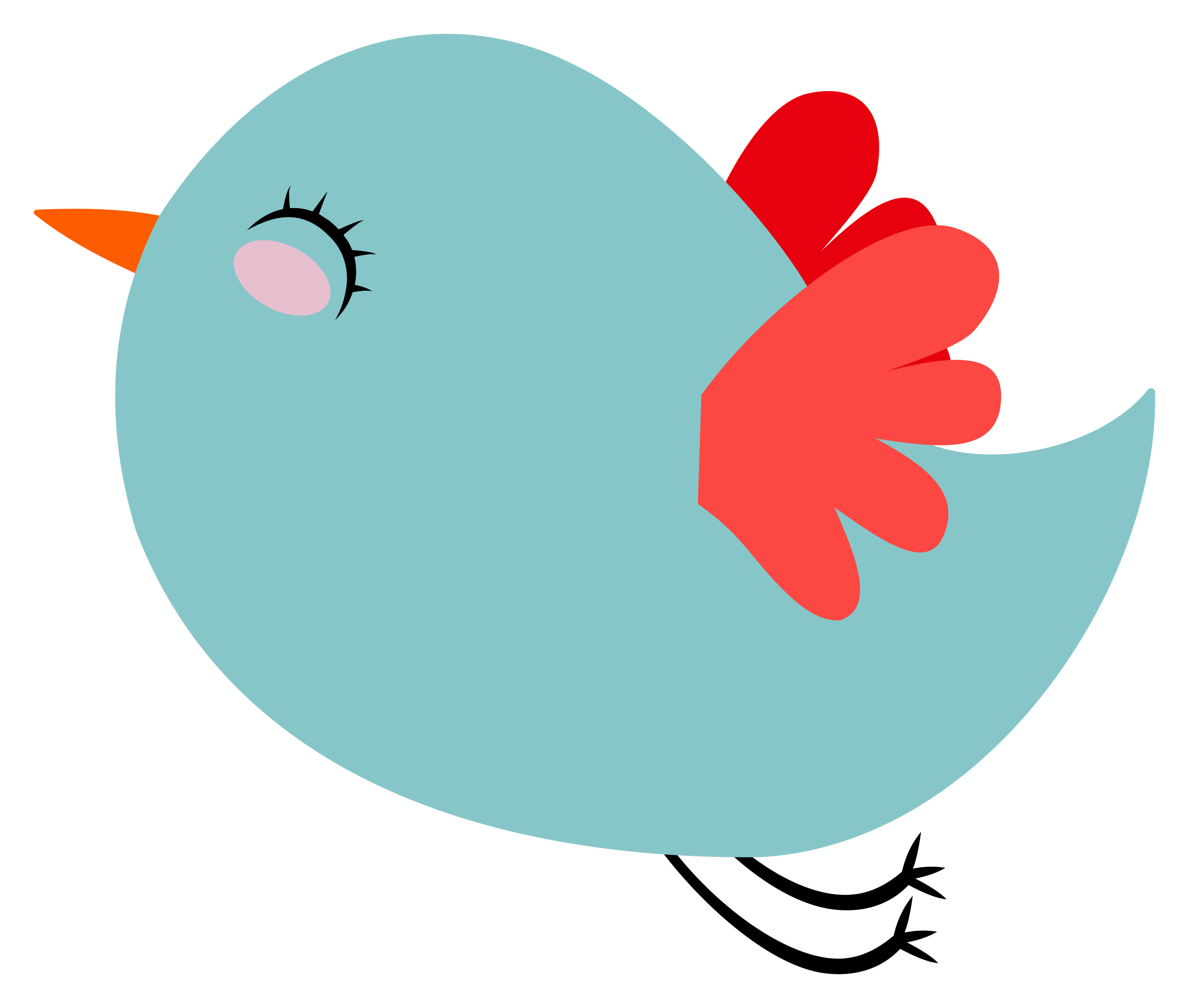 Teal bird with red. Wing clipart cute
