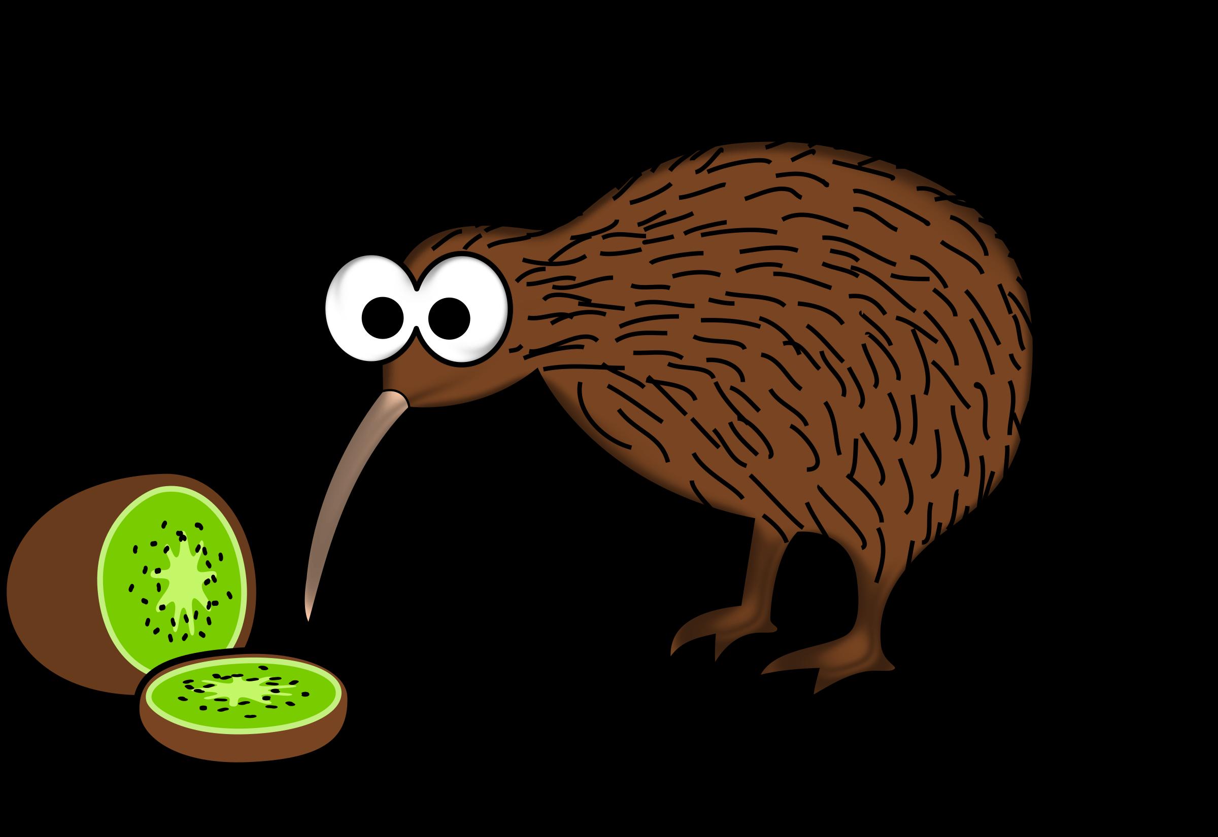 Clipart birds kiwi. Cartoon bird with fruit