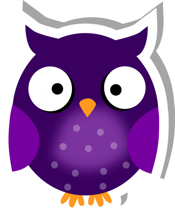 Clipart bird lilac. Cute owl sticker