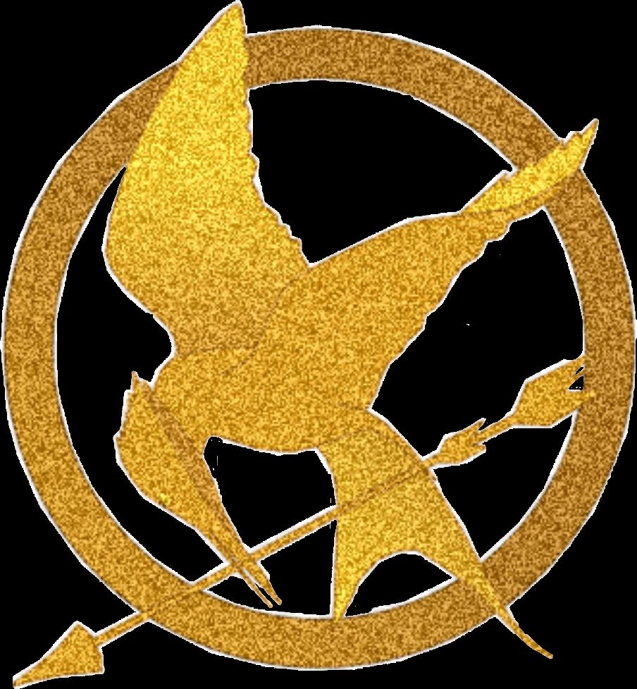 Clipart bird mockingjay. Glitter fire gold pin