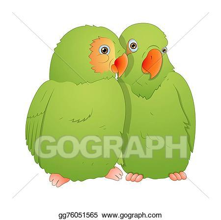 Parrot clipart pair bird. Eps illustration vector