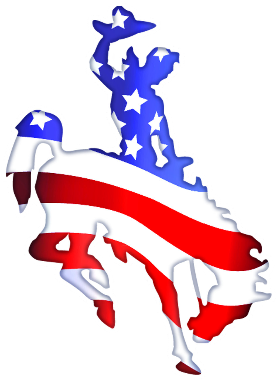 Tb patriotic bucking decal. Horse clipart transportation