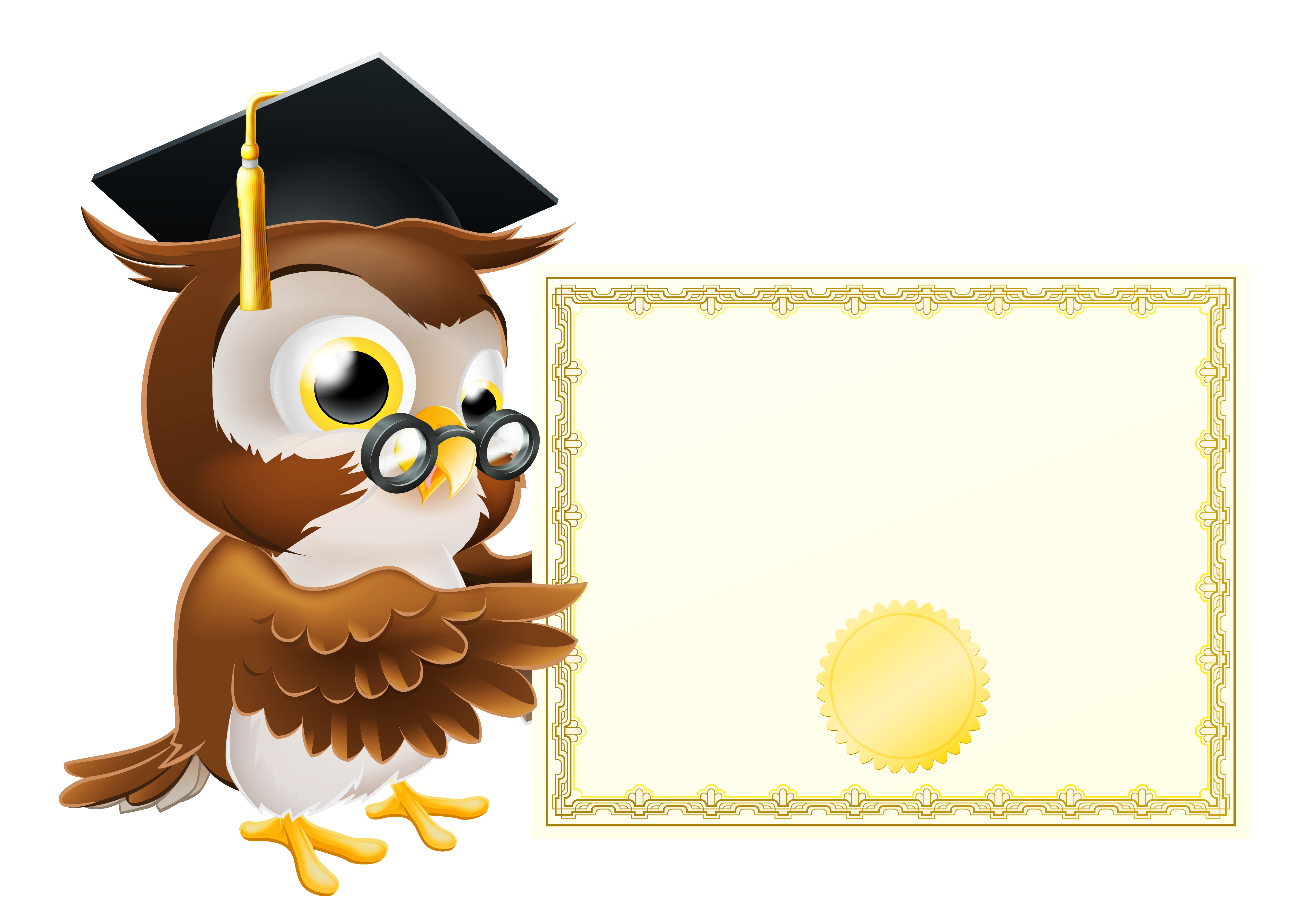 With school diploma png. Frames clipart owl